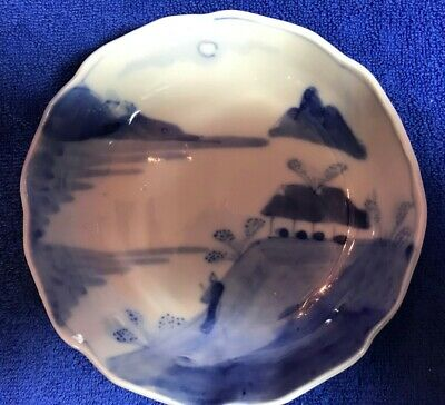 "(N57) Antique 6"" Blue and White Imari Bowl"