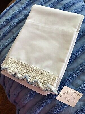 "PAIR WHITE PERCALE COTTON PILLOWCASES 20""X32 /  BLUE made LACE EDGES AS FOUND"