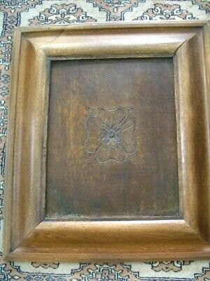 Wooden LARGE Hand Carved Antique Wall Plaque~ Chunky frame Oak