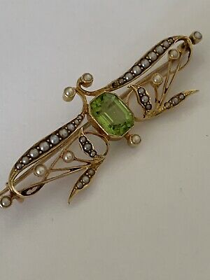 Superb Fine Art Nouveau 15ct Gold Peridot & Seed Pearl Set Brooch - Circa 1895