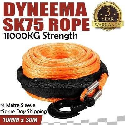 10MM x 30M Synthetic Winch Rope Dyneema SK75 Tow Recovery Rope Orange 4WD