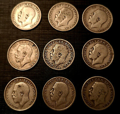 9 King George V Solid Silver Shilling Coins 1912 1914 1915 1916 1917 1918 Old UK