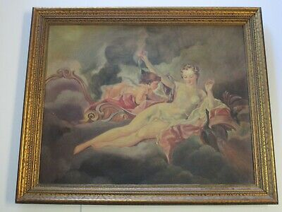 Antique Art Deco Victorian Era Nude Painting Iconic Angel 19Th To 20Th Century