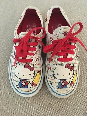 Vans Hello Kitty Authentic Newsprint Shoes Girls Kids 12.5 lace up classic