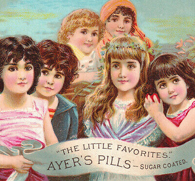 Lovely Ayers Pill Girls Cure 19th Century Patent Medicine Victorian Trade Card