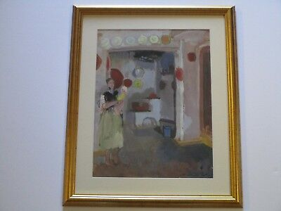 Antique Early 20Th Century Expressionism Painting Bonnard Style Signed Figural