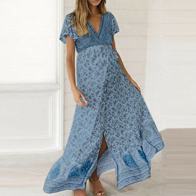 Pregnant Women V-Neck Short Sleeve Floral Slit Long Dress Maternity Sundress 12
