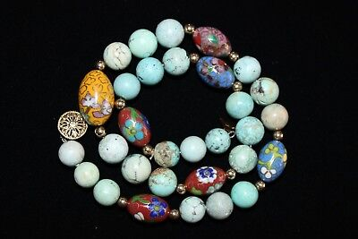 Antique Beautiful Chinese Turquoise & Cloisonne Necklace!