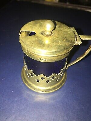 Silver Plate Mustard Pot With Original Blue Glass Lining