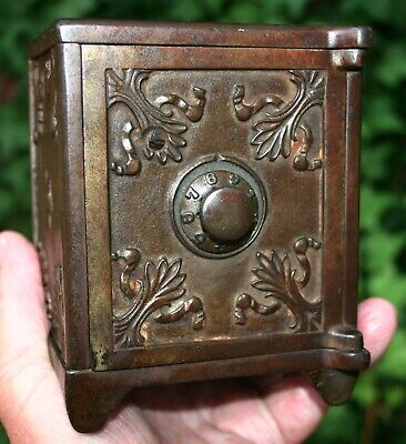 """Antique Early Large Cast Iron Safe Bank with a """"Working Combination"""" Beautiful!!"""