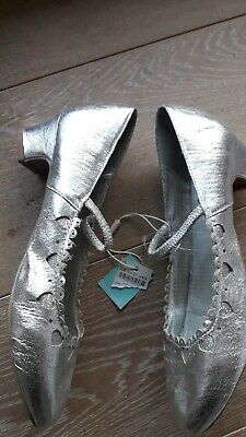 Bnwt MONSOON Girls Silver Antique Leather Heel Formal Party Shoes UK4 £22.