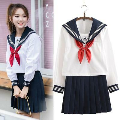 Japanese Girl Sailor School Uniform Women JK Pleated Skirt White Blouse Costume