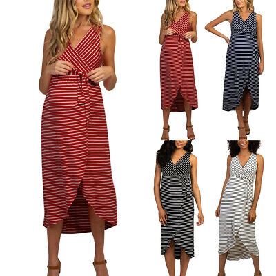 Women Pregnant Sleeveless Midi Wrap Dress Stripe Maternity Summer Casual Clothes
