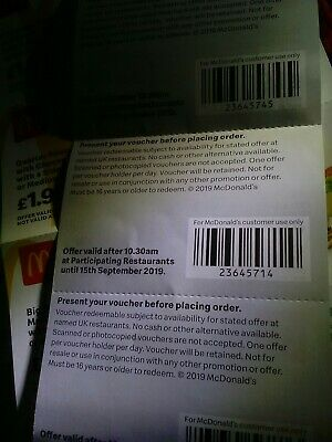 mcdonalds vouchers  2 strip 12 individual dated 15 September 2019