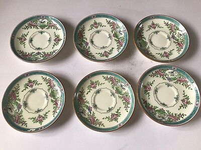 Antique Edwardian MINTONS 6 Tea Cup Saucers English Porcelain c1910