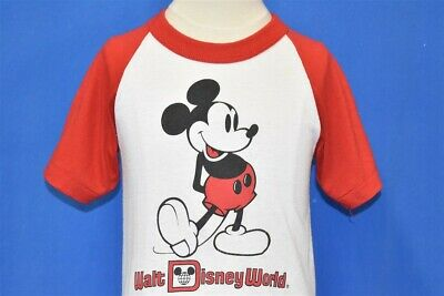 vintage 80s MICKEY MOUSE WALT DISNEY WORLD RED WHITE SOUVENIR t-shirt YOUTH M