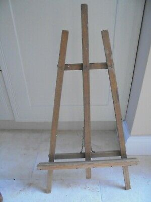 Large vintage wooden table top easel for display, chain supports, wedding menu