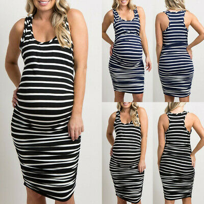 Pregnant Women Sleeveless Sexy Stripe Vest Dress Maternity Midi Sundress Clothes