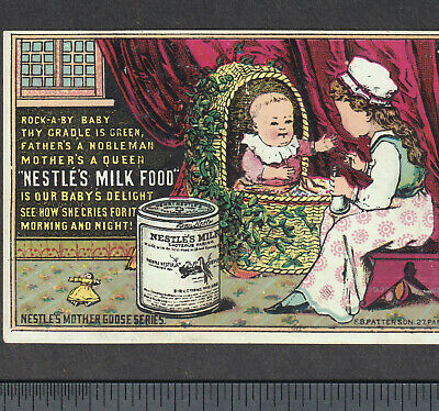 Nestles Mothers Milk Substitute Infant Nurser Baby Bottle Advertising Trade Card