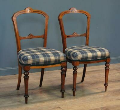 Attractive Small Pair Of 2 Antique Edwardian Carved Walnut Bedroom Hall Chairs