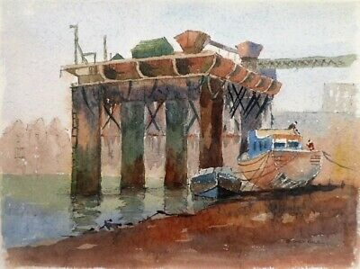 SYDNEY VALE FRSA  A THAMES GRAVEL LOADING QUAY - 20th C ORIG VINTAGE WATERCOLOUR