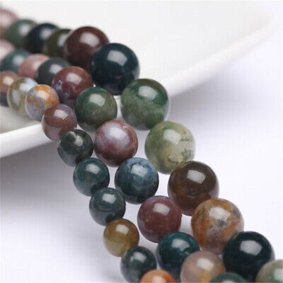 Nature Indian Agate Beads Diy Accessories Spacer Healing Gemstone Charm Stone