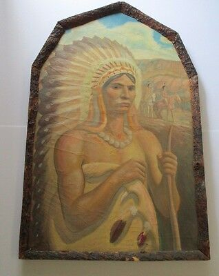 Antique Native American Indian Painting Chief Art Deco Wpa Era Large 1920'S Vntg