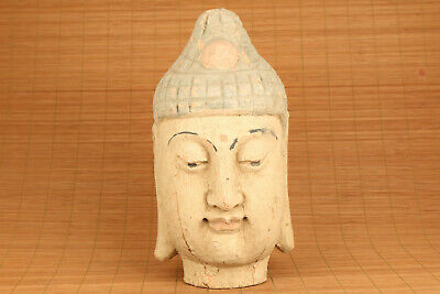 Big Asian tibetan old wood hand carved buddha monk head statue figure blessing