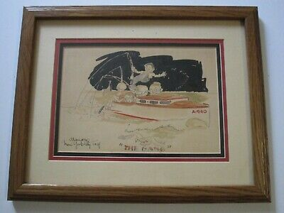 Antique Painting Original Illustration Vintage Watercolor New York Fishing 1928