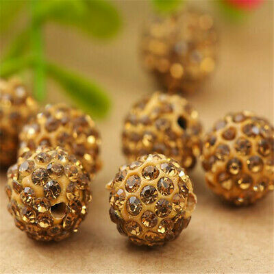 100PCS 10mm Shamballa Crystal Rhinestone Pave Clay Round Beads Makings Styles