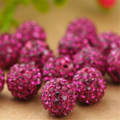 100pcs Rose Red Rhinestone Shamballa Beads Spacers Rondelle 10mm Colorful Hole