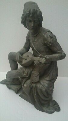 """Antique French Large Spelter Cast Metal Statue """"Man Playing Lute"""""""