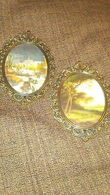 Vintage Ornate Oval Metal  Antique Frames Made In Italy