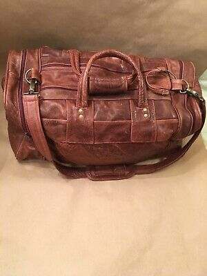 Leather Duffle Bag Talon Zippers Brown Weekend Travel Duffel Mexico