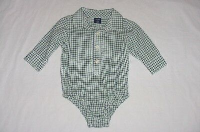 EUC Baby GAP Boys Blue & Green Plaid Button Down Dress Shirt Bodysuit 3-6 M