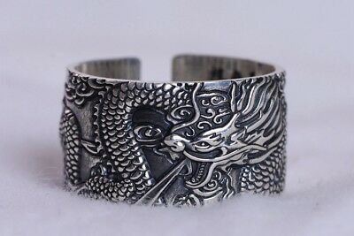 999 STERLING SILVER VINTAGE dragon Heart Sutra RING  jewelry  S2697