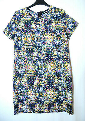 White Navy Blue Yellow Pink Casual Party Shift Dress Size 10 Fashion Union