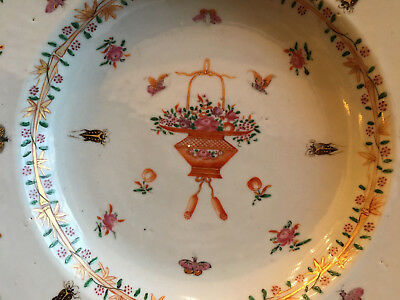 A Rare Chinese Famille Rose Export Porcelain Plate with Flowers & Insects.