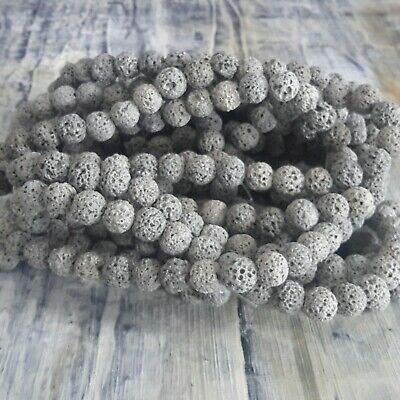 Natural Lava Beads Grey 8mm Round  Approx 47 pcs Free postage. Oz Seller