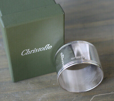 Christofle ALBI Napkin Ring Holder Silverplated w/ Box & Carrying Pouch France