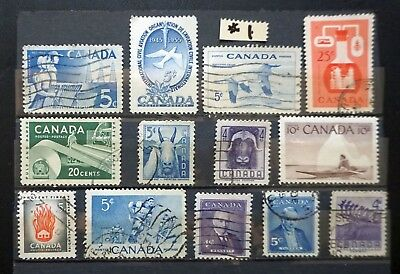 CANADA 1955-1956 Two COMPLETE YEAR SETS Lot of 13 different used stamps