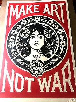 SIGNED Shepard Fairey MAKE ART NOT WAR Print Poster Obey Giant 24x36