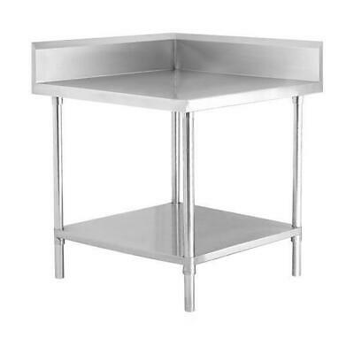Corner Bench w Undershelf & Splashback, Full Stainless Steel, 700x700x900mm