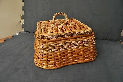 Vintage Sewing box made from woven seagrass and split cane 1930's