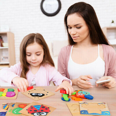 4PCS  Puzzle Toys Wooden Animal Puzzle Jigsaw Brain Educational For Child Kids