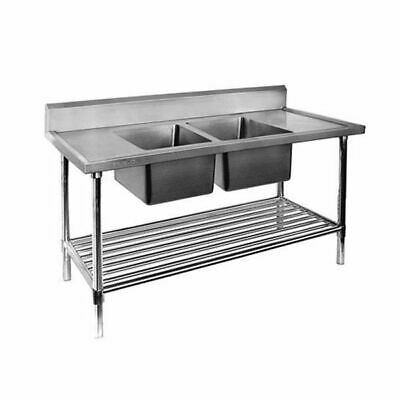 Sink Centre Double Bowl Bench 1800x600x900mm Pot Shelf Full Stainless Commercial