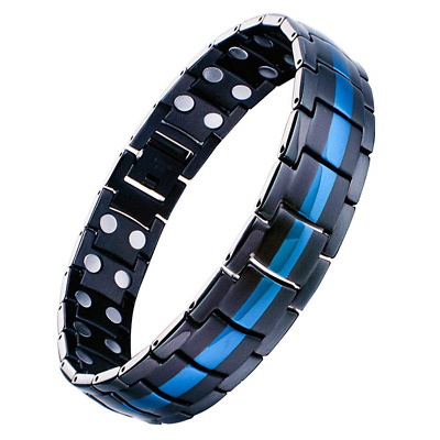 Jeracol Mens Magnetic Therapy Bracelet Double Strong Magnet Blue&Black Health