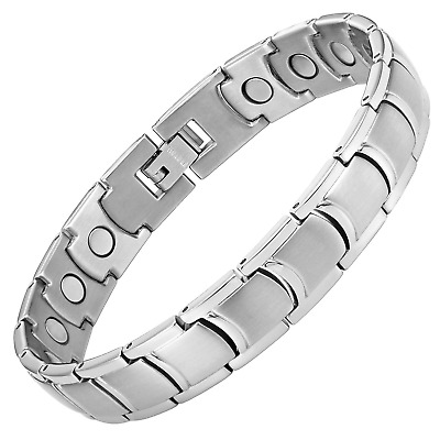 Mens Titanium Magnetic Therapy Bracelet for Arthritis Pain Relief Adjustable By