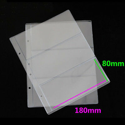10pcs Paper Money Banknote Holders Album Pockets Pages Sleeves Storage Note L