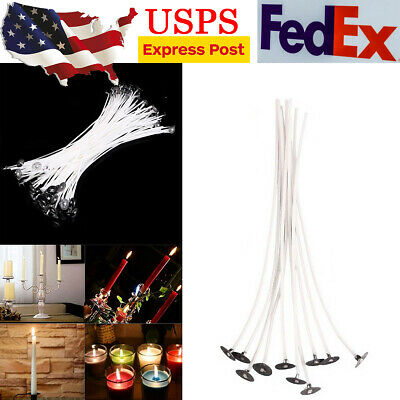 100pcs Candle Wicks Cotton Core Low Smoke Pre Waxed Candle Wicks with Sustainers